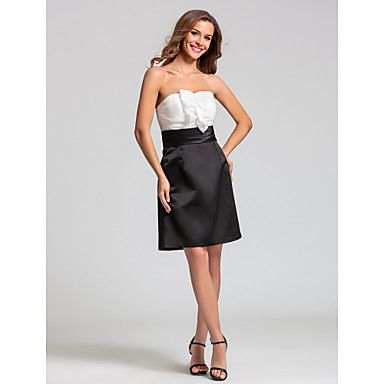 Bridesmaid Dress Knee-length Taffeta/Satin Sheath/Column Sweetheart Dress – AUD $ 110.39
