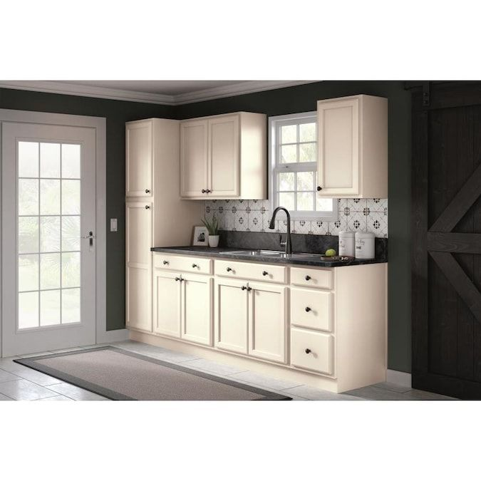 Project Source 36 In W X 35 In H X 23 75 In D Natural Unfinished Door And Drawer Base Stock Cabinet Lowes Com Stock Cabinets Stock Kitchen Cabinets Unfinished Cabinets