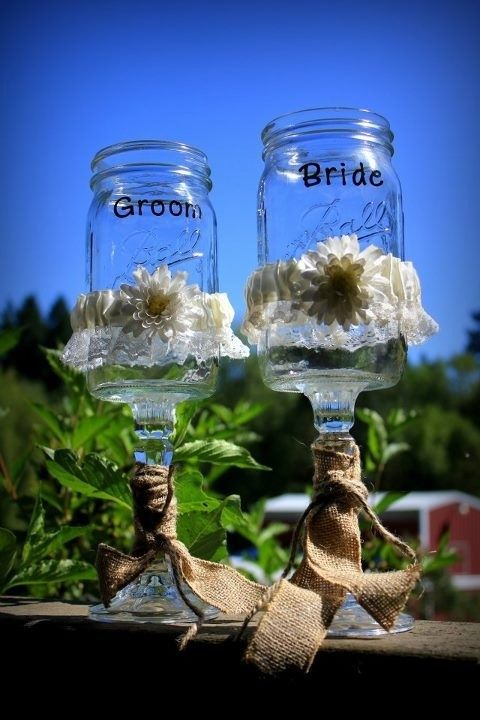 Country Wedding Ideas Mason Jars | mason jar, canning jar, kerr, burlap, daisies, yellow, green, wedding ...