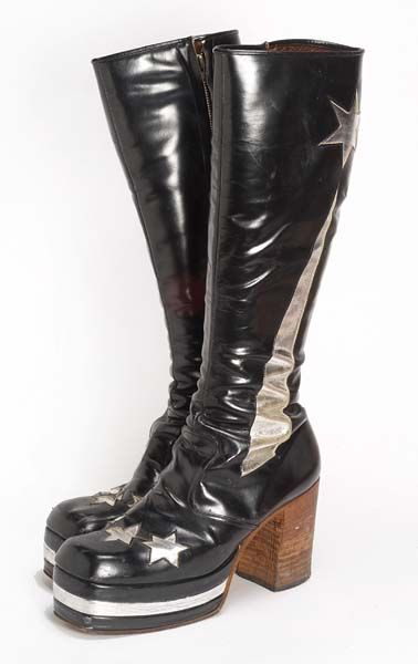 Boots | 1970 | Museum of London  Fashion influences ranged from ethnic design and disco to glam #rock and punk in 1970s.