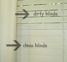Clean Mini Blinds With Vinegar In a bowl mix together equal parts of water and vinegar. Slip an old sock on your hand. Dip the sock in the vinegar/water mixture and run it over the blinds. Can use a second old sock to wipe away the dampness after each slat in the blind has been   cleaned .