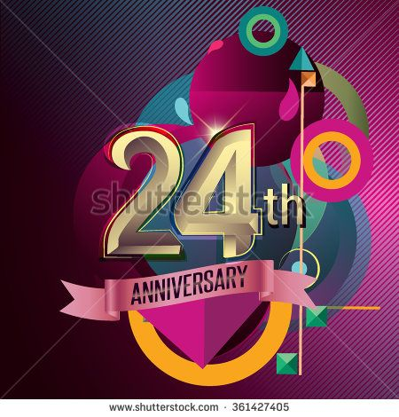 24th Anniversary, Party poster, party invitation - background geometric glowing element. Vector Illustration - stock vector