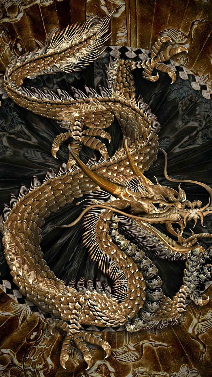Gold chinese dragon
