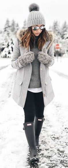 #winter #outfits / All Grey - Black Hunter Boots