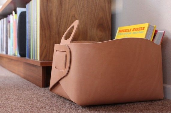 Leather Storage Tote by gildem on Etsy