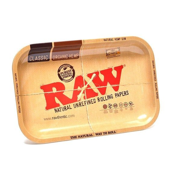Large Raw Papers Metal Rolling Tray And New Raw Magnetic Tray Cover Rawthentic Raw Papers Glass Bongs Tray