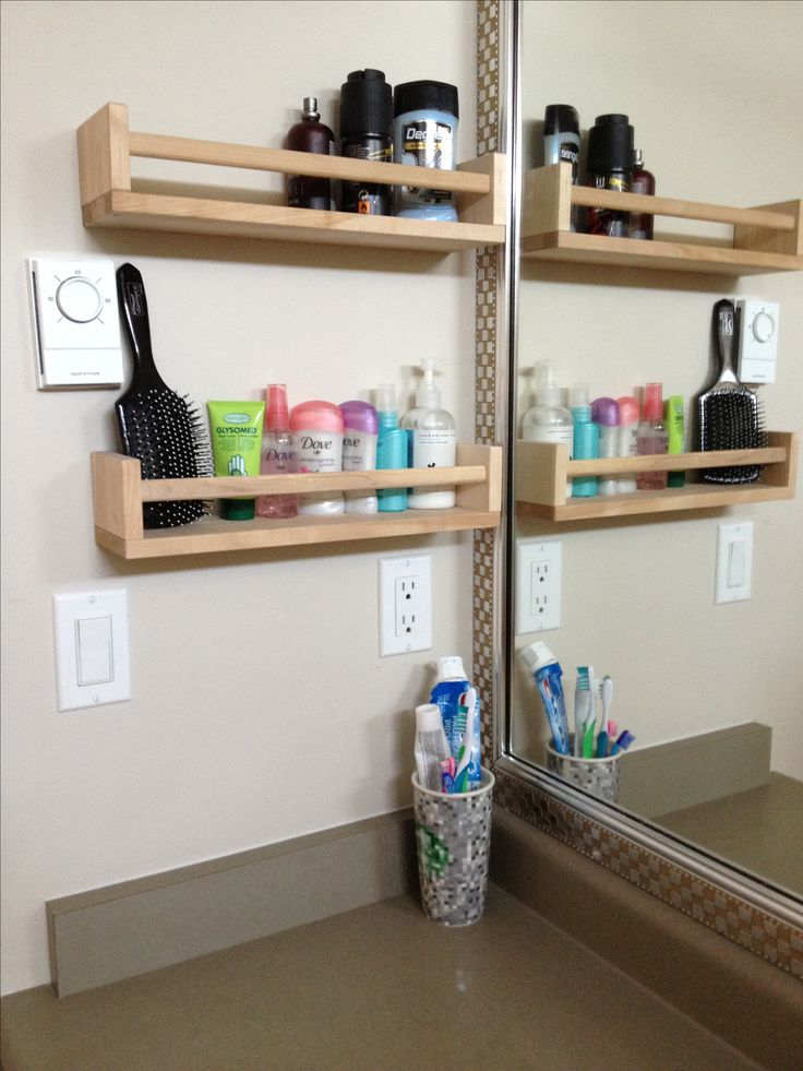 Quick way to organize my kids' bathroom.  No more clutter all over the counter - 2 ikea spice racks