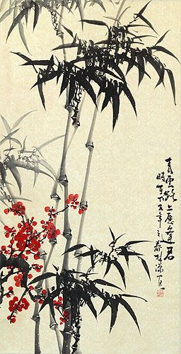 Huge Chinese Bamboo and Plum Blossom Wall Scroll close up view