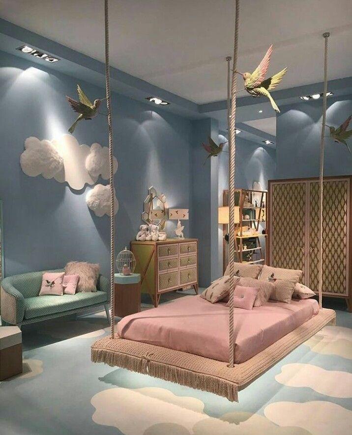 Dreamy Girls Bedroom Sky Fluffy Clouds Swing Bed Girl Bedroom