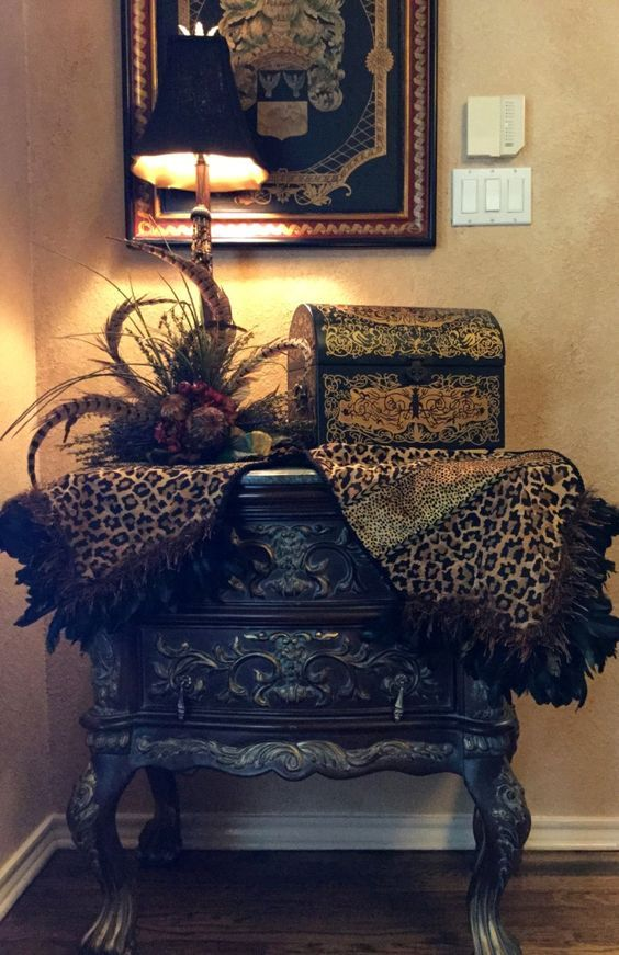 Gorgeous Leopard Print Table Runner with Feathers by Reilly-Chance Collection  http://reilly-chanceliving.com/collections/runners