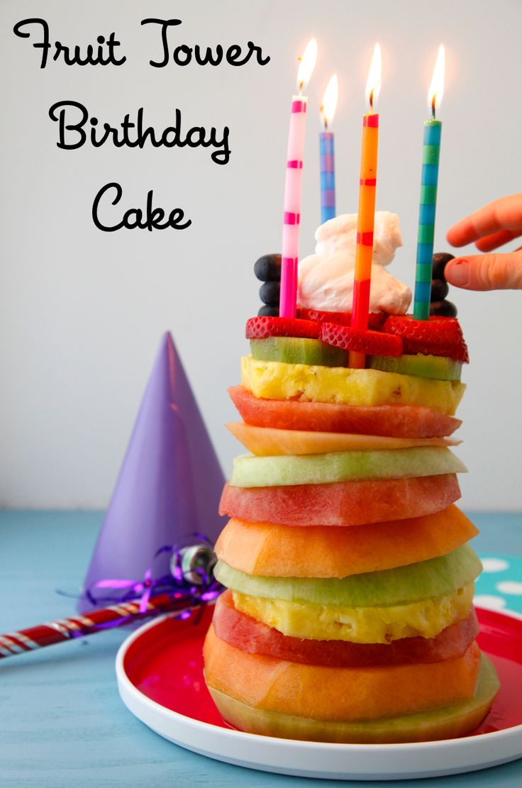 Fruit Tower Healthy Birthday Cake
