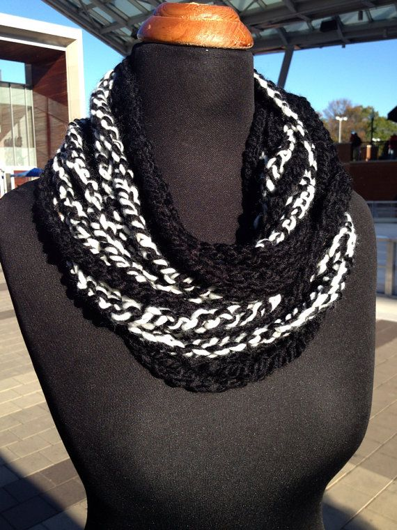 Free US Shipping: Black and White Wool Blend Infinity Scarf