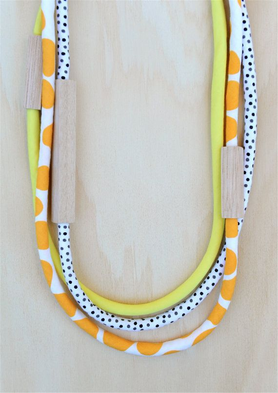 3 piece MIXED - WOOD & FABRIC Necklaces - Mango Pebble Spots, Black and White Dots and Bright Yellow