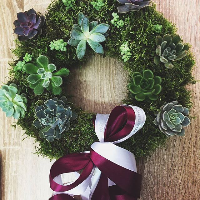 Coronita fresh cu muschi si plante suculente.  Fresh door wreath with moss and succulents.