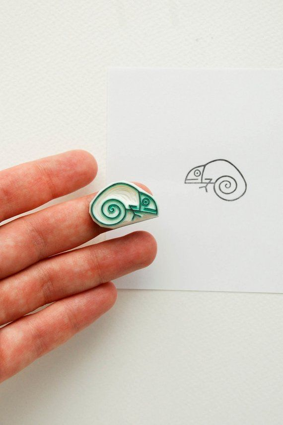 Small baby chameleon stamp, funny lizard stationary, reptile stamp for dad