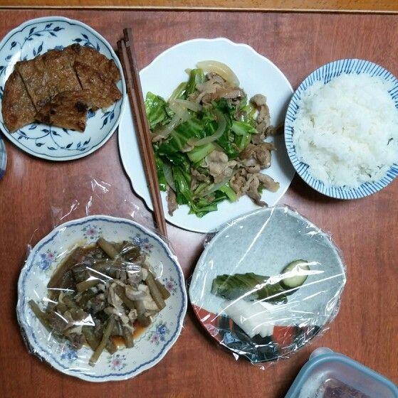 5月19日(月) 雨曇り晴れ キャベツと豚肉のウスター炒め 牛筋の天ぷら つわ キムチ 62.2