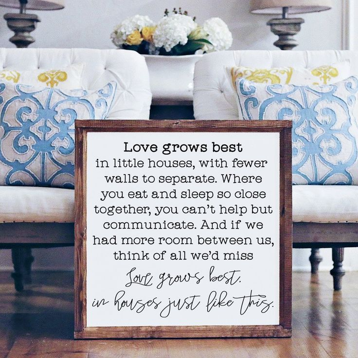 Wood Framed Signboard - Love Grows Best- Square- 26x26