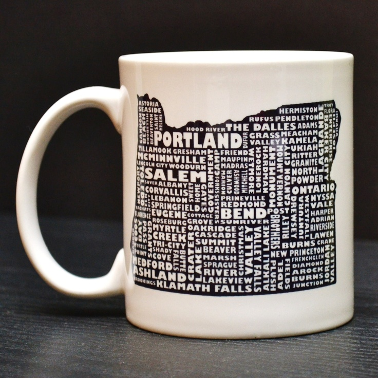 OREGON Coffee Mug Unique Art Tea Cup by DailyGrinder on Etsy