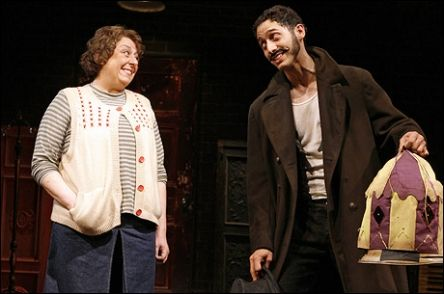 Jayne Houdyshell as Coraline and Elliot Villar as Mr Bobo in the original cast of Stephin Merritt and David Greenspan's Coraline musical.