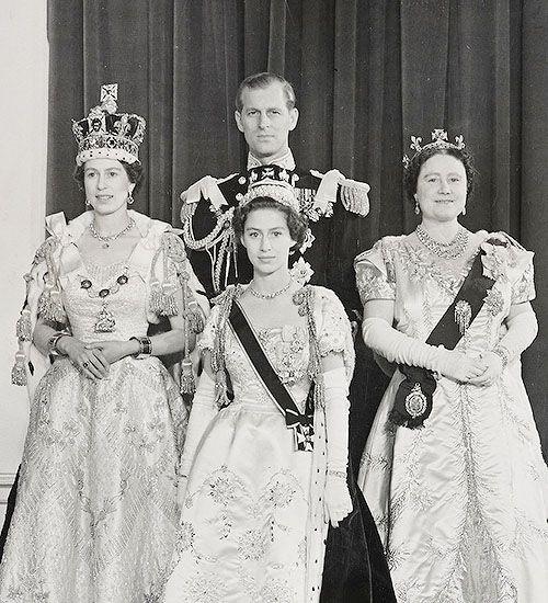 The Coronation of Queen Elizabeth II on 2 June 1953. Photographed in the Throne Room in Buckingham Palace: Queen Elizabeth II, The Duke of Edinburgh, Princess Margaret and Queen Elizabeth, The Queen Mother.