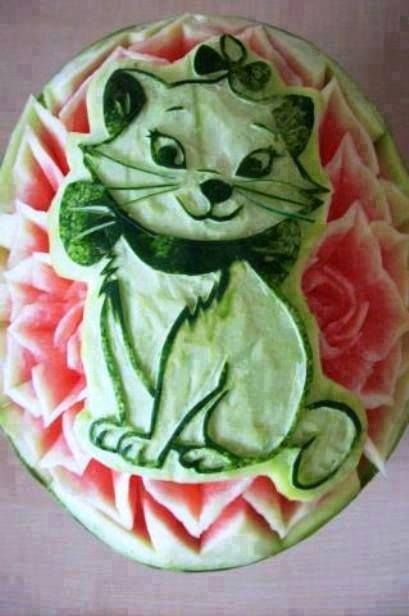 Cat watermelon carving