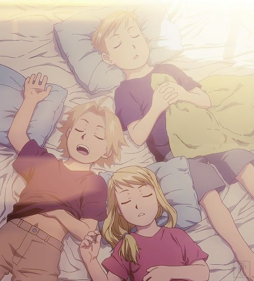 Edward Elric, Winry Rockbell and Alphonse Elric.