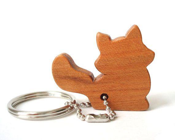 Fox Key Chain Wood Animal Key Chain Woodland Fox Key Ring Fox Key Fob Scroll Saw Outline Keychain