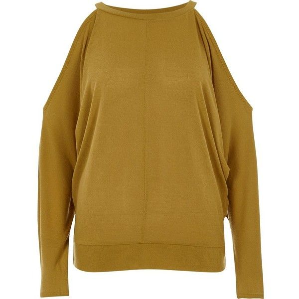 River Island Dark yellow cold shoulder batwing top ($52) ❤ liked on Polyvore featuring tops, knitted tops, knitwear, women, yellow, river island top, cut out shoulder top, river island, cold shoulder tops and yellow top