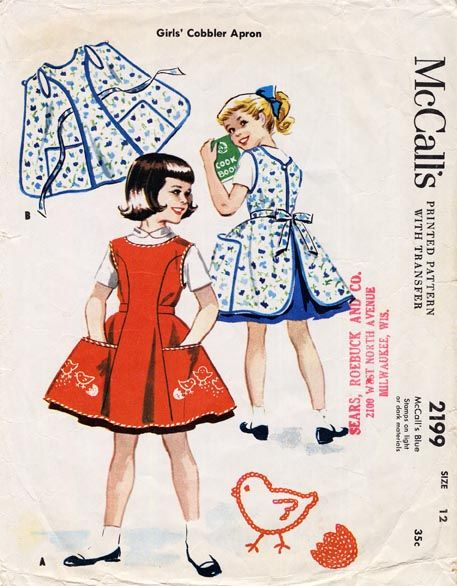 Girl's apron (can't believe we used to wear aprons with princess seams etc. Seems so much work by today's standards!)