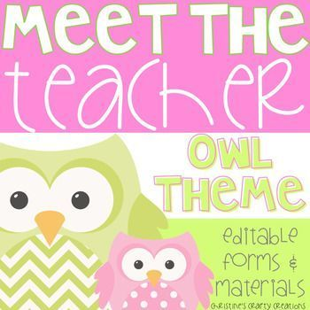 This owl theme editable meet the teacher night packet includes:* A Sign in Sheet for Parents (2 Versions)* Transportation Sheet and Transportation Slips* Welcome sign tents for Kindergarten-5th grade* School Supply Lists* Teacher Contact Information Cards (2 Versions)* Class Roster Sheet * Parent Volunteer Form* 2 Student Information Sheets* Wish List Cards* Blank Wish List CardsIf interested: I also created pink and green polka dot classroom labels that go perfectly with this meet the…