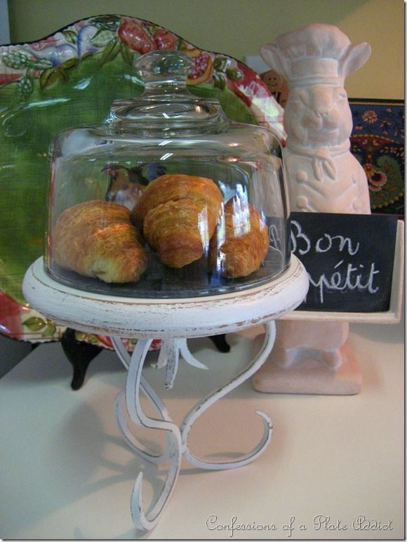 My Shabby Pastry Dome - it doesn't have to look shabby or be used for a pastry dome. Any display could go in it. Boy am I regretting all those domed cheese plates I passed up at Goodwill!