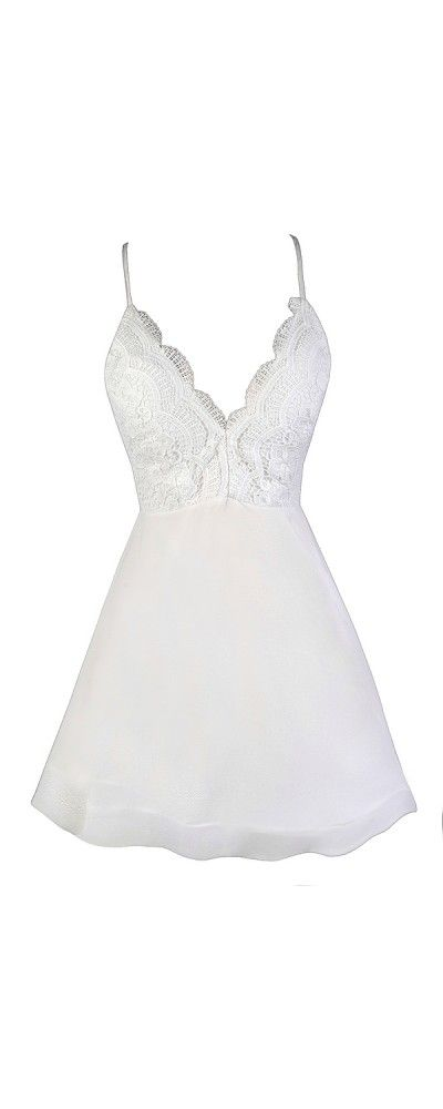 Lily Boutique Just Swing It Lace Open Back Dress in White, $58 White Lace A-Line Dress, White Party Dress, Cute White Dress, White Summer Dress, White Bachelorette Party Dress, Structured Hemline Dress, White Cocktail Dress www.lilyboutique.com