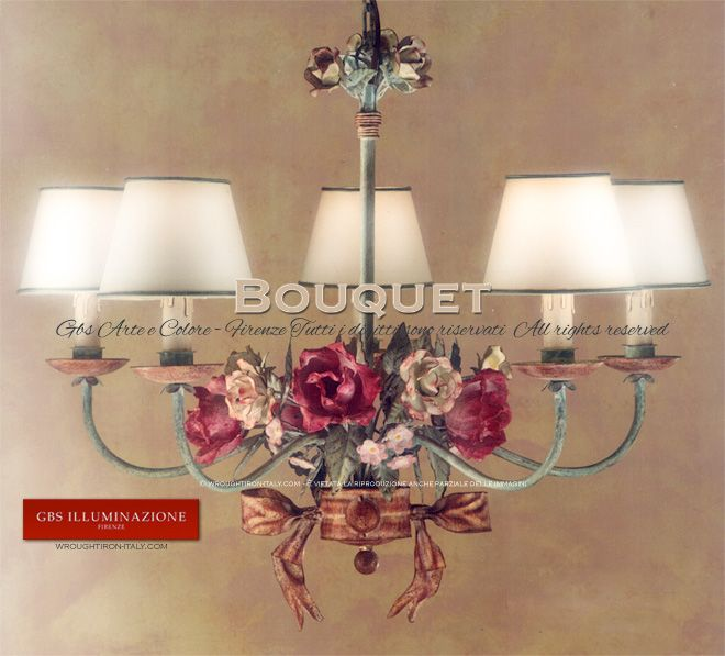 Antique Rose Bouquet Chandelier | The authentic GBS Tole Roses Chandelier - GBS Tole Floral Chandeliers, handmade in Florence (Tuscany) since 1925.