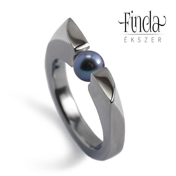 Wave női gyűrű acélkék tenyésztett gyönggyel