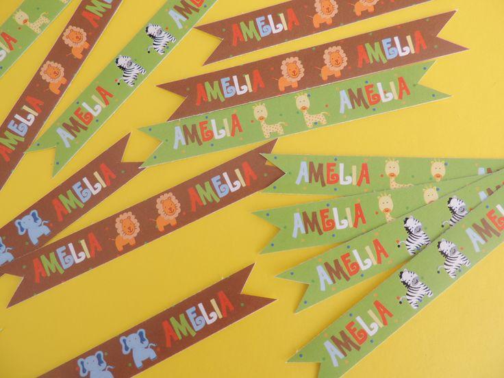 Banderines para pitillos fiesta de Animales de la Selva