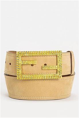 Fendi Khaki-Gold Mia Vitello Belt - Enviius