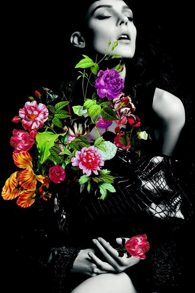 Ricci's Floral Fall | Kati Nescher | Inez van Lamsweerde and Vinoodh Matadin #photography | Nina Ricci Fall 2012 Campaign #mixed_media
