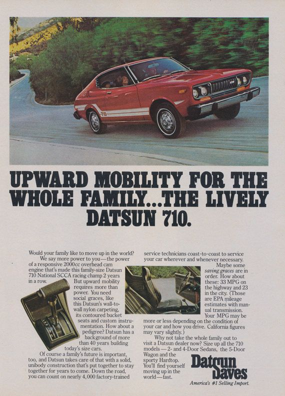1976 Datsun 710 Car Ad Vintage Nissan Auto Advertisement Wall Art Decor