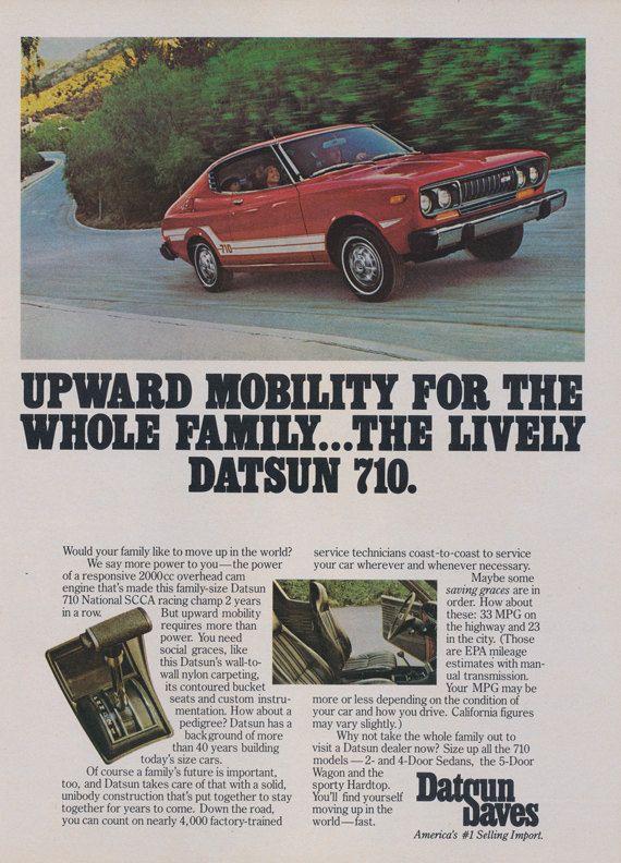 1976 Datsun 710 Car Ad Vintage Nissan Auto Advertisement Wall Art Decor
