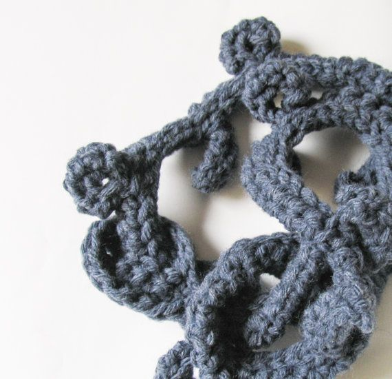 Blue denim Fleshy Crochet Long Necklace Fiber by totalhandmadeD