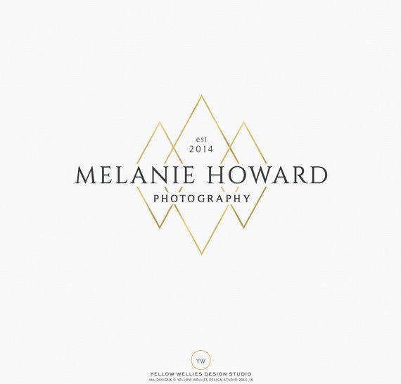 Premade Logo Design  Modern Gold Diamond by YellowWelliesDesigns