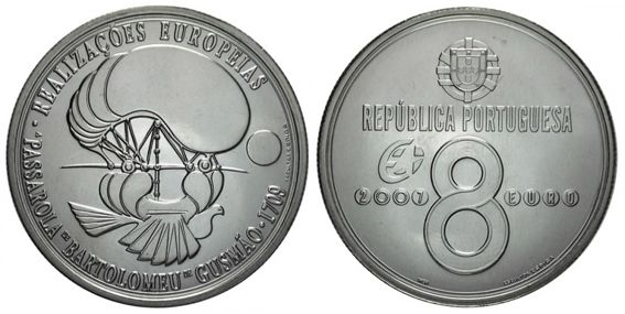 Portugal, 8 euros, 2009. Bartolomeu Lourenço de Gusmão.