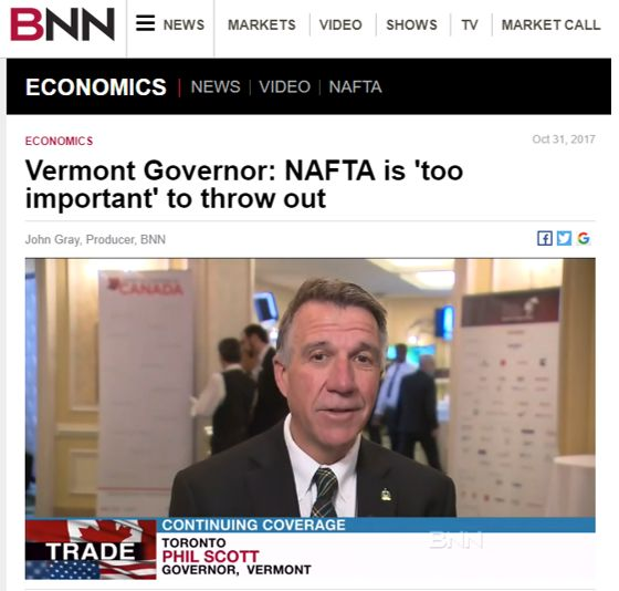 Vermont Governor: NAFTA is 'too important' to throw out