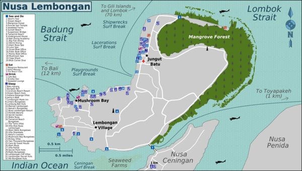 Detail Nusa Lembongan Bali Location Map for Tourist Reference,Location Map of Nusa Lembongan Bali,amarind Beach, Sandy Bay /Sunset Beach, Dr...