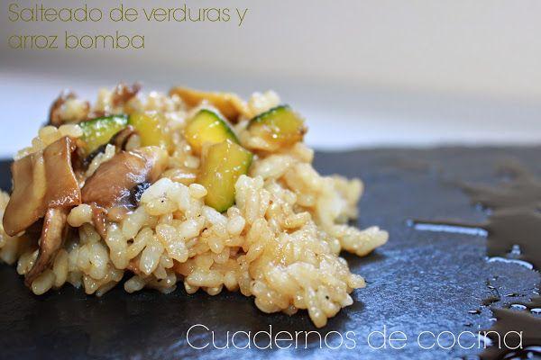 Salteado de verduras y arroz bomba