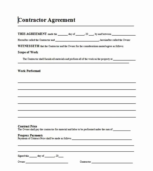 New Home Construction Contract Template Unique Free Template