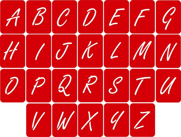 CODE: A105. NAME: Alphabet Stencils (Freestyle Script Font) SIZE: 5cm, 7cm & 10cm. Available from RD Designs. Contact: renchea@rddesigns.co.za.