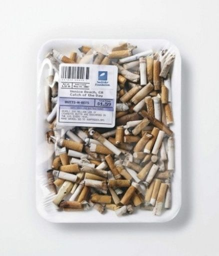 They are some true cigarette butts, the purpose is to remind people to protect the ocean