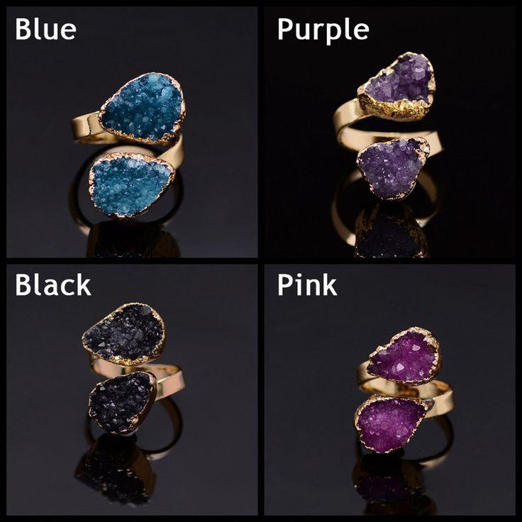 Регулируемая капли воды розовый кварц фиолетовый кристалл Druzy Drusy природный камень кольца женщин позолоченные рождественский подарок кольцо купить на AliExpress
