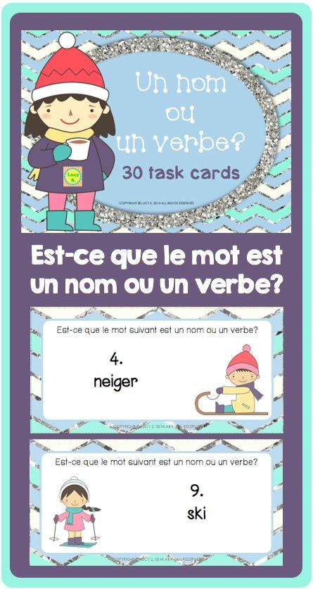 $ French Task Cards - Noun or Verb? - un nom ou un verbe? 30 cards in colour and B&W